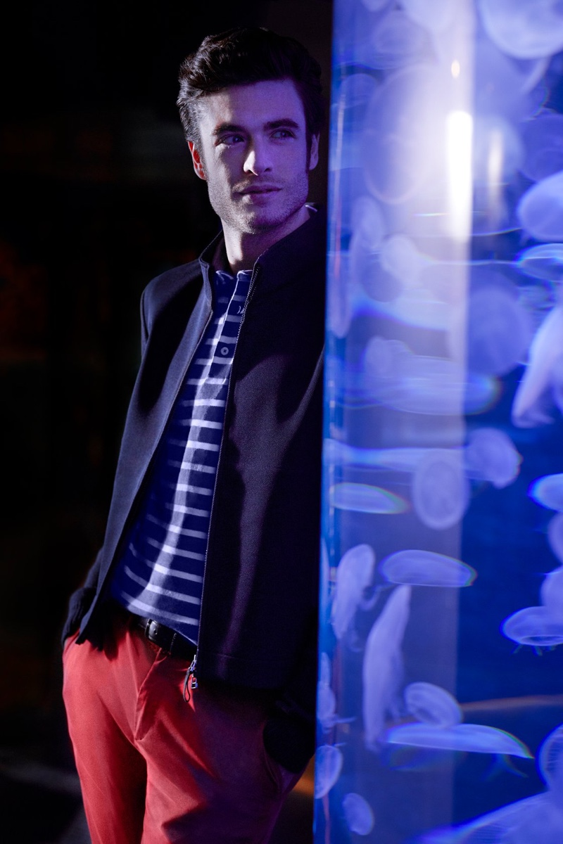 Donning red and blue, Gaspard Menier appears in Façonnable's fall-winter 2019 campaign.