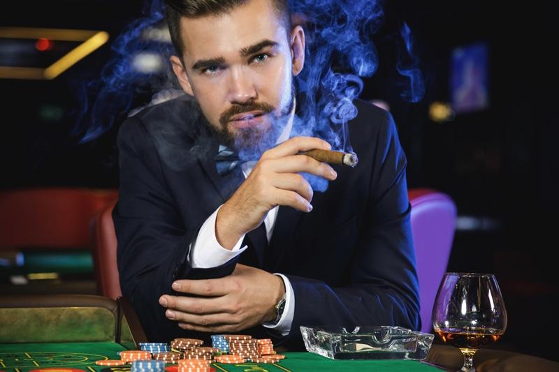 Guy Smoking Casino Cigar Chips Suit