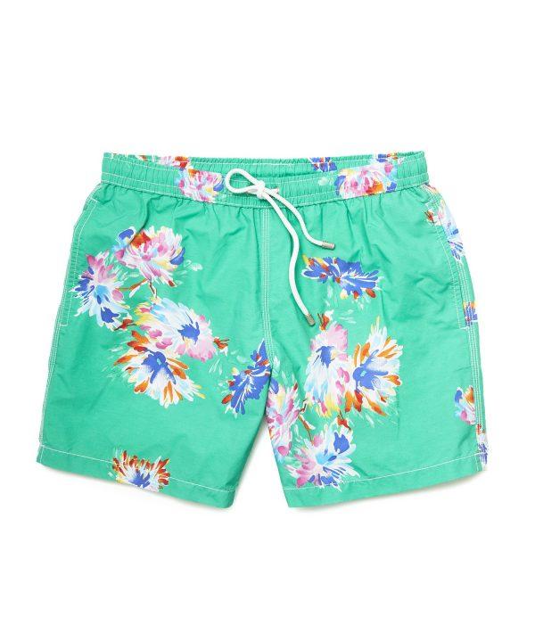Hartford Watercolor Flower Swim Trunks in Green
