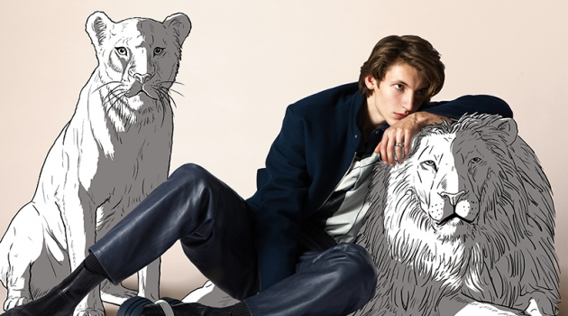 Updating a classic look, Giel slips into leather pants by Hermès.