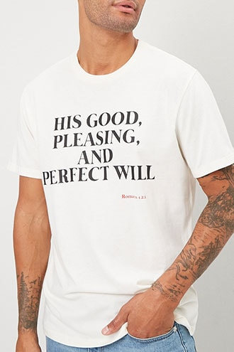 His Will Graphic Tee at Forever 21 , Cream/black