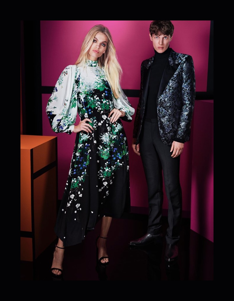 Daphne Groeneveld and Tim Schuhmacher come together for Holt Renfrew's holiday outing. Tim dons a tuxedo jacket by Givenchy.