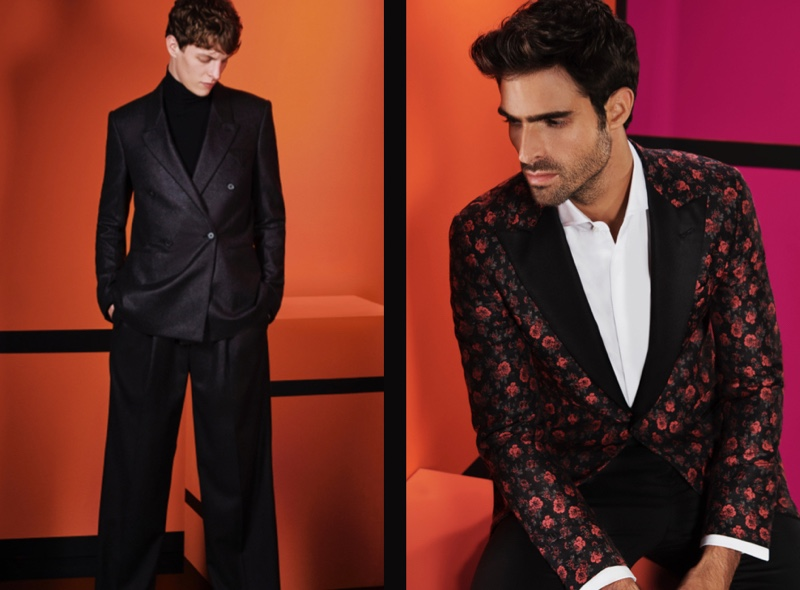 Pictured left, Tim Schuhmacher cleans up in a relaxed tailored suit by Bottega Veneta. Meanwhile, Juan Betancourt sports an ornate look by ISAIA.