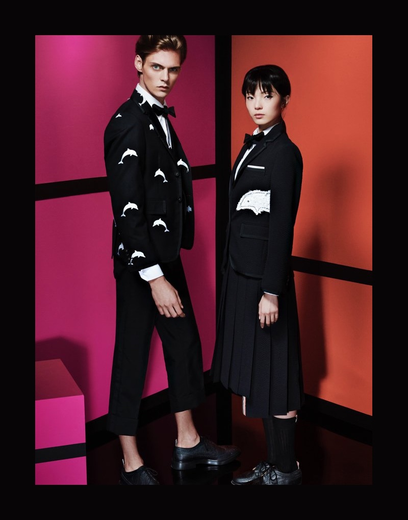 Mats Van Snippenberg and Xiao Wen Ju charm in Thom Browne for Holt Renfrew.