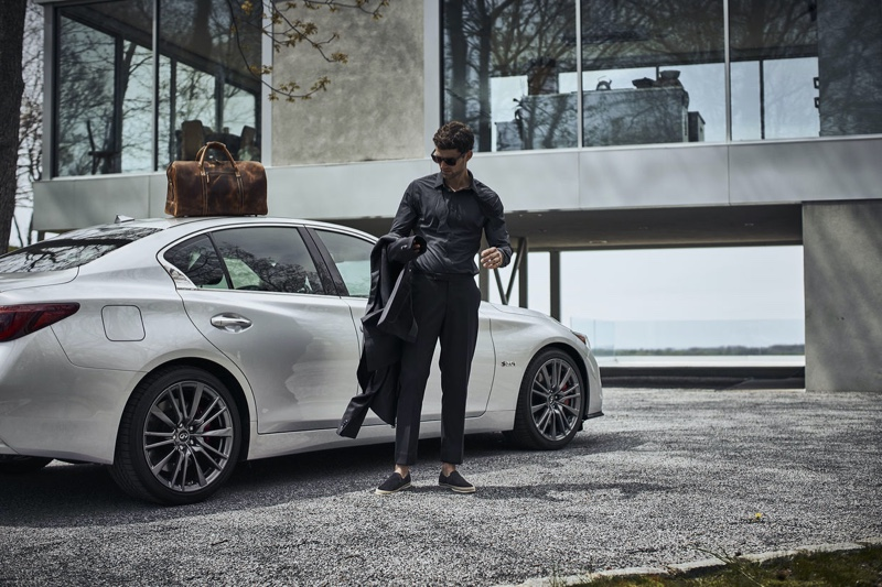 "Model Max Jablonsky appears in Infiniti's ""Luxury Should Be Lived In"" campaign."