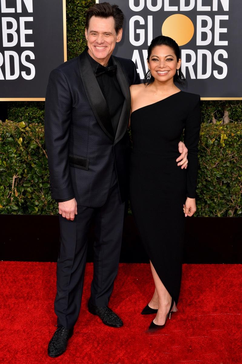 Jim Carrey with Ginger Gonzaga at 2019 Golden Globes
