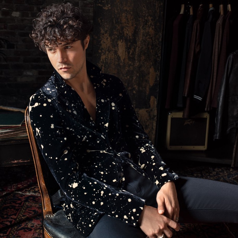 Miles McMillan sports a velvet jacket $1,698 from the John Varvatos x Led Zeppelin capsule collection.