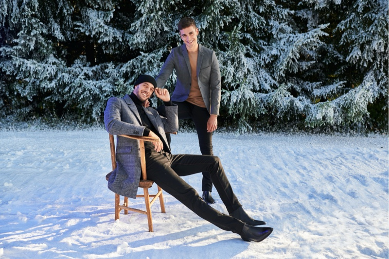 All smiles, Federico Cola and Gonçalo Pinto front Jules' Christmas 2019 campaign.