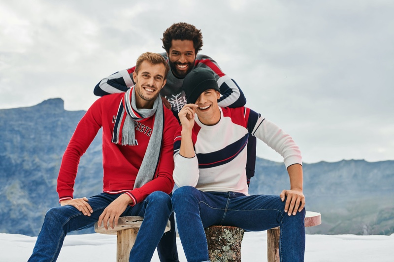 Sporting winter styles, Federico Cola, Thiago Santos, and Gonçalo Pinto star in Jules' Christmas 2019 campaign.