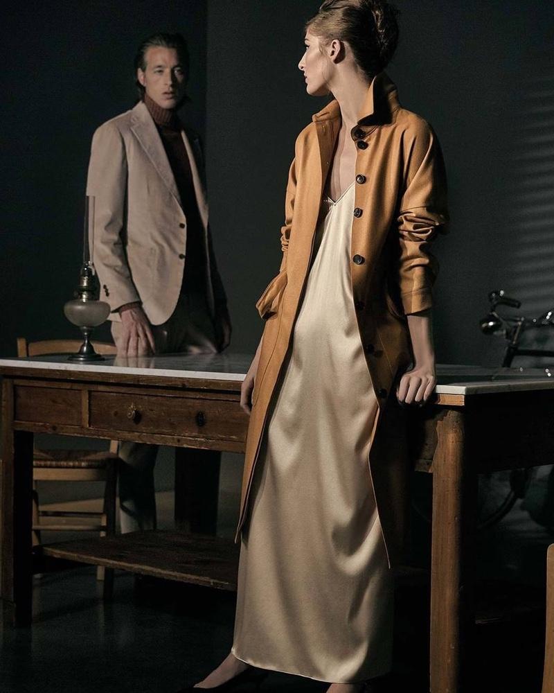 Joel Frampton and Annie Tice star in a fall-winter 2019 campaign for Lardini.