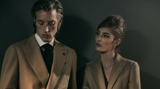 "Models Joel Frampton and Annie Tice come together for Lardini's fall-winter 2019 campaign entitled ""Obsession."""