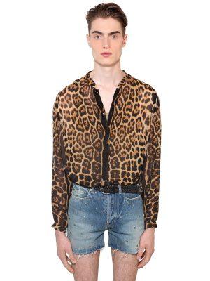 Leopard Print Sheer Silk Shirt