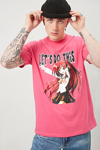 Lets Do This Anime Graphic Tee at Forever 21 , Pink/black