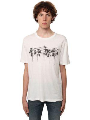 Logo Palm Print Cotton Jersey T-shirt