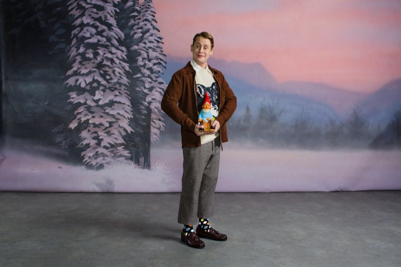 Front and center, Macaulay Culkin appears in Happy Socks' holiday 2019 campaign.