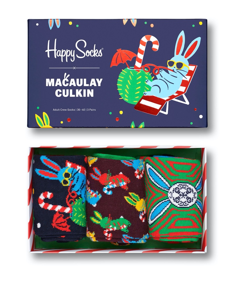 Happy Socks collaborates with Macaulay Culkin on a special set of holiday socks.