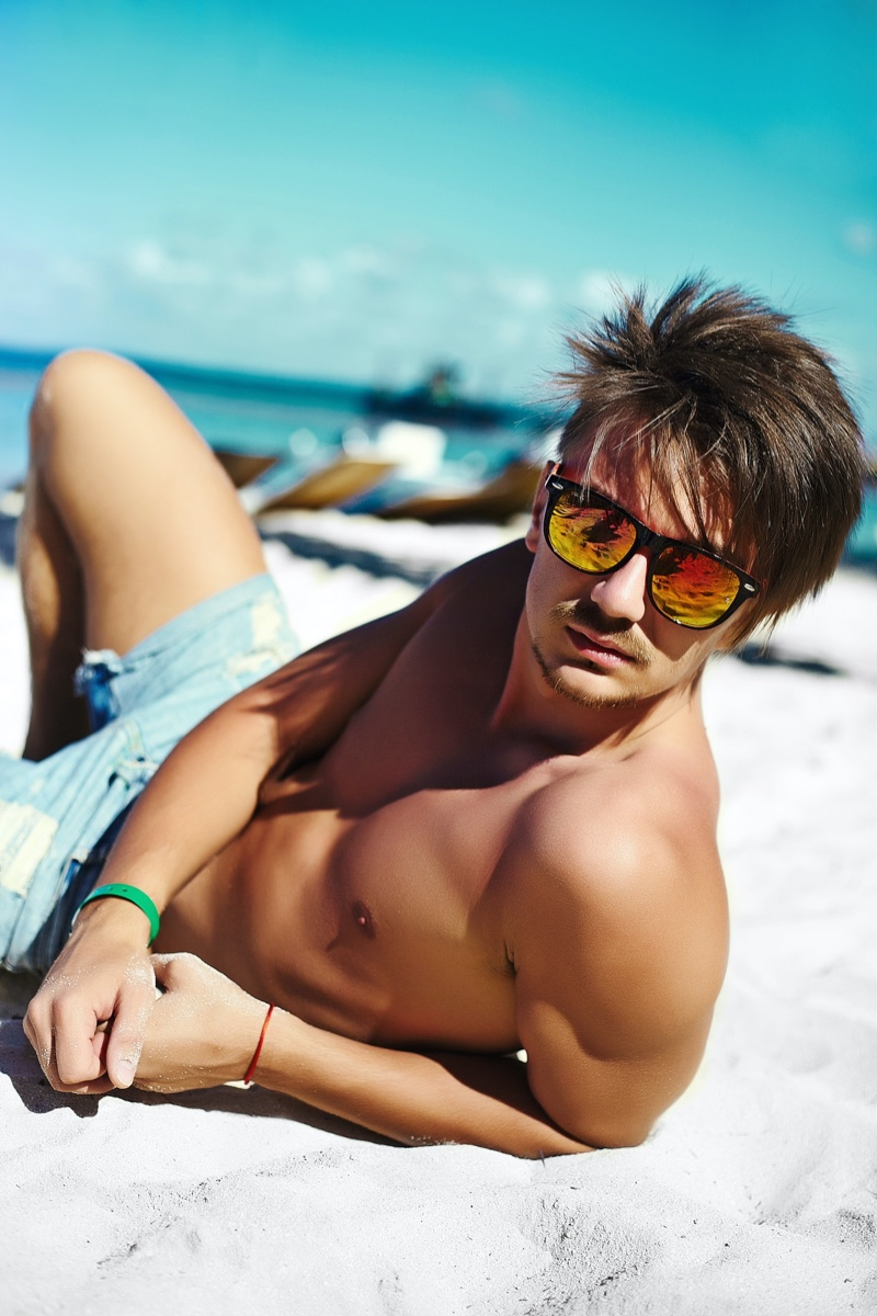 Male Model Beach Shirtless Sunglasses Shorts