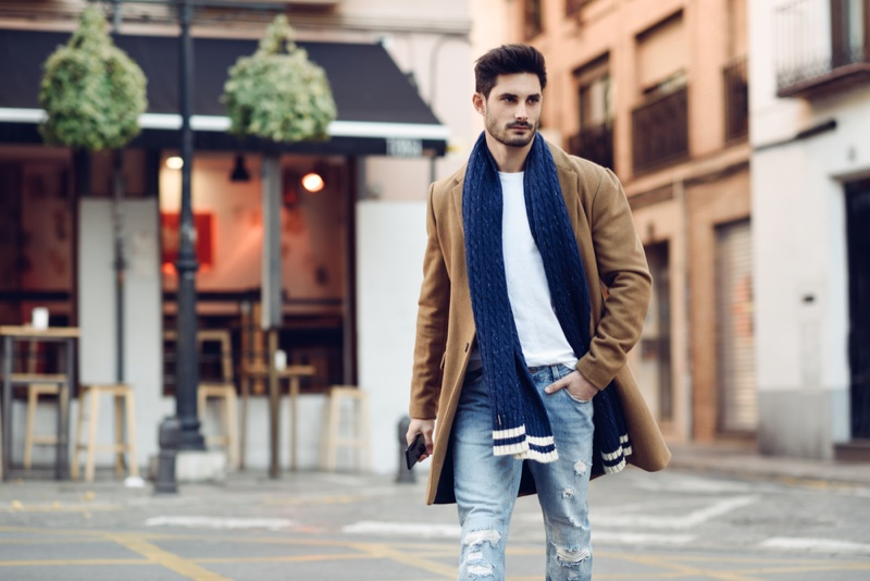 Male Model Street Style Scarf White Tee Ripped Jeans Coat