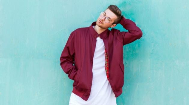 Man Bomber Jacket Long Line T-Shirt White Pants Glasses