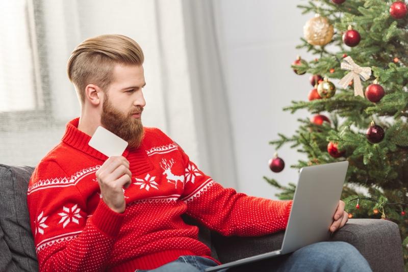 Man Christmas Shopping Online Card Tree