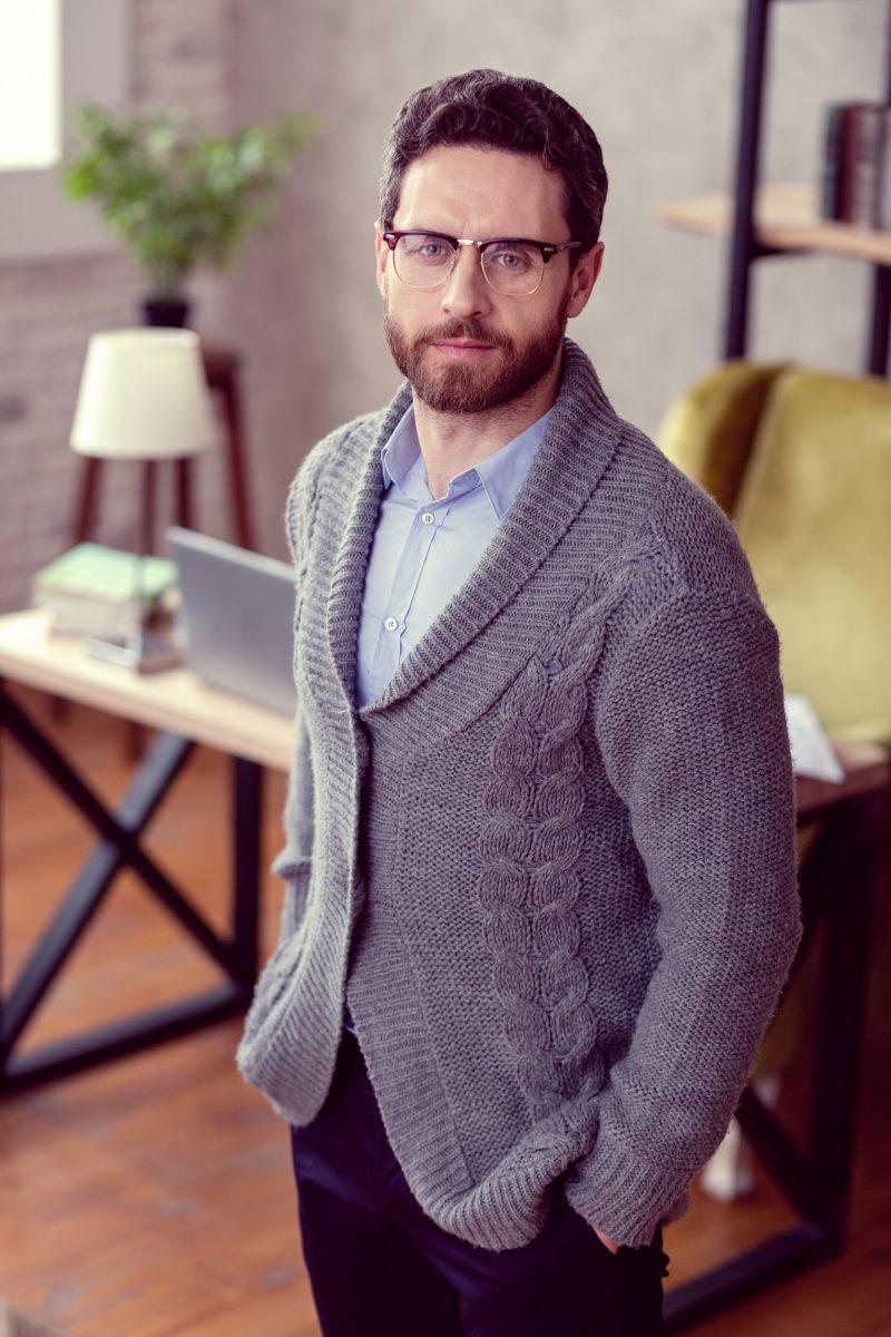 Man Glasses Cardigan Sweater