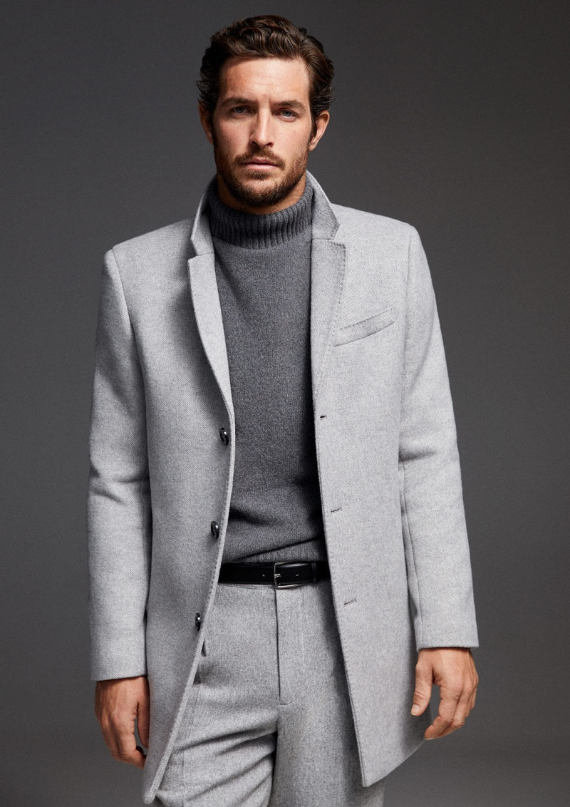 A vision in gray tailoring, Justice Joslin wears Mango.