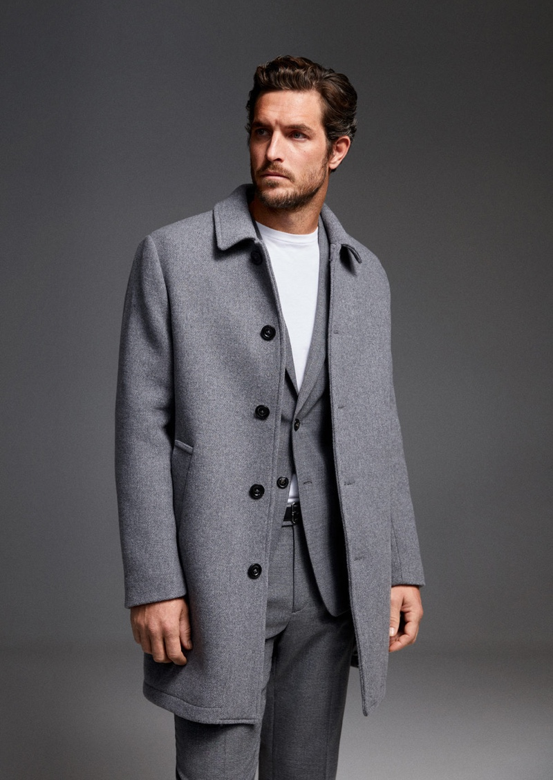 Donning fall tailoring, Justice Joslin models a look from Mango.