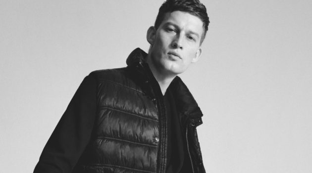 Bastian Thiery dons a look from Marc O'Polo's Limited in Black collection.