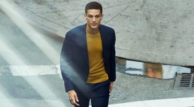 Marco Pickett dons a sleek suiting look from Banana Republic.
