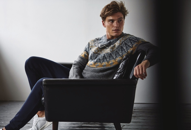 British model Oliver Cheshire reunites with Marks & Spencer for fall-winter 2019.