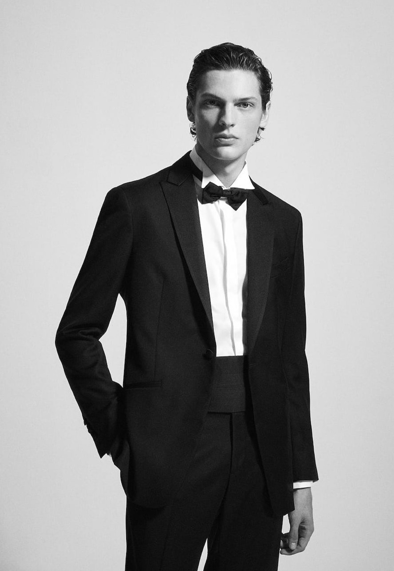 Valentin Caron dons a black tie look for Massimo Dutti.