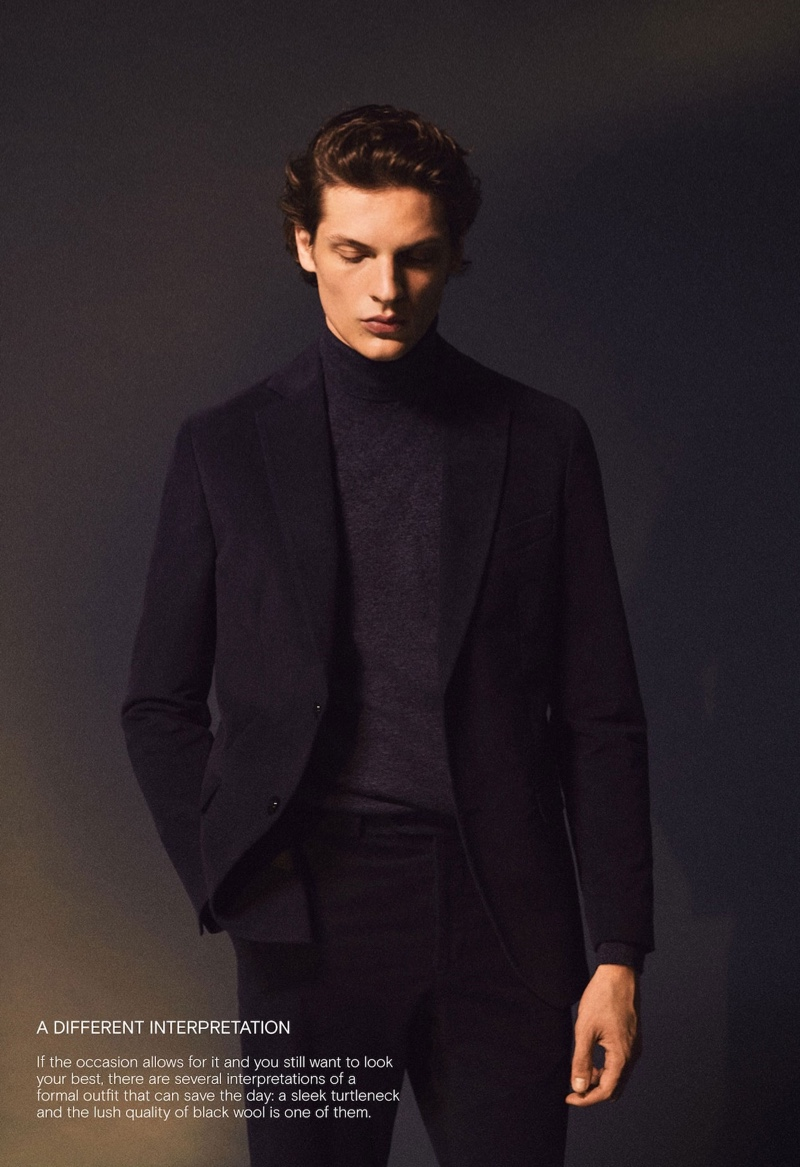 Making a case for the turtleneck, Valentin Caron wears Massimo Dutti.