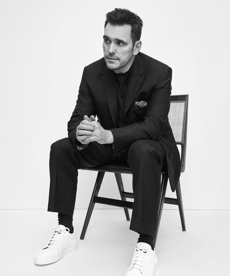 Sitting for a portrait, Matt Dillon appears in Brioni's fall-winter 2019 campaign.