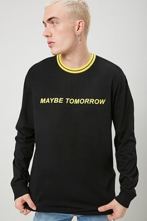 Maybe Tomorrow Graphic Tee at Forever 21 , Black/yellow