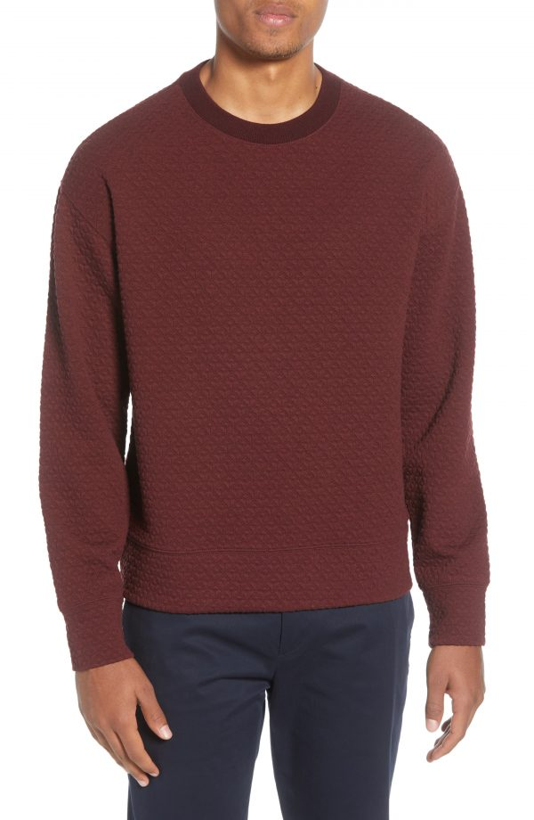 Men's Club Monaco Deco Quilted Sweatshirt, Size Large - Red