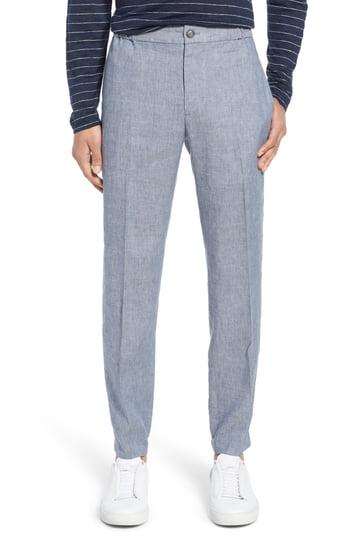 Men's Club Monaco Lex Slim Fit Linen Blend Pants, Size XX-Large - Blue