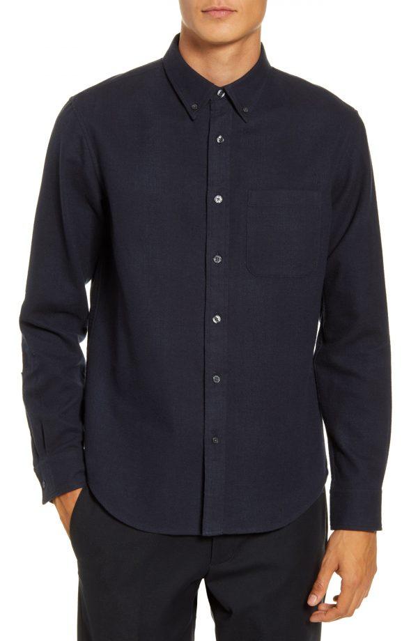 Men's Club Monaco Slim Fit Blue Button-Down Flannel Shirt, Size Small - Blue