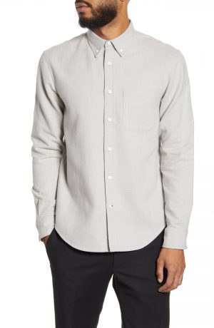 Men's Club Monaco Slim Fit Flannel Button-Down Shirt, Size Medium - Grey