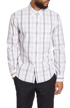Men's Club Monaco Slim Fit Plaid Button-Down Shirt, Size Small - White