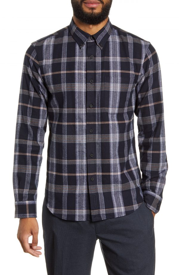 Men's Club Monaco Slim Fit Plaid Flannel Button-Down Shirt, Size Small - Blue