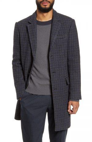 Men's Club Monaco Slim Fit Plaid Wool Blend Topcoat, Size 42 - Grey