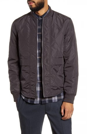 Men's Club Monaco Slim Fit Quilted Jacket, Size Large - Grey