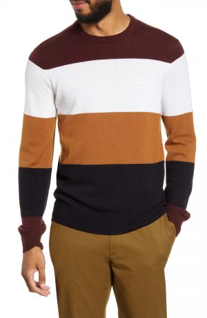 Men's Club Monaco Slim Fit Stripe Wool Sweater, Size Medium - Burgundy
