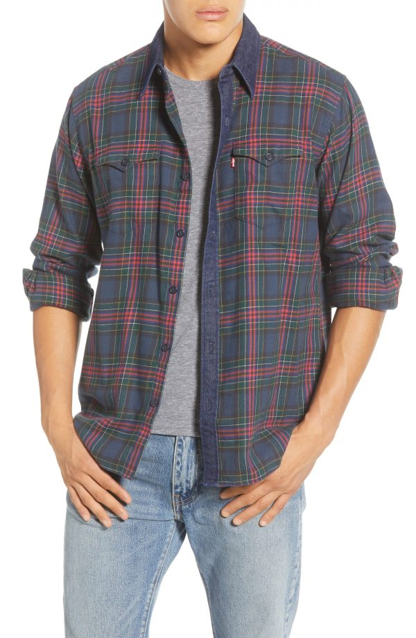 Men's Levi's Barstow Western Slim Fit Plaid Flannel Button-Up Shirt, Size Small - Blue