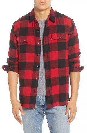 Men's Levi's Jackson Flannel Button-Up Work Shirt, Size Medium - Burgundy