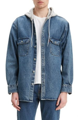 Men's Levi's Jackson Regular Fit Hooded Denim Overshirt, Size Small - Black