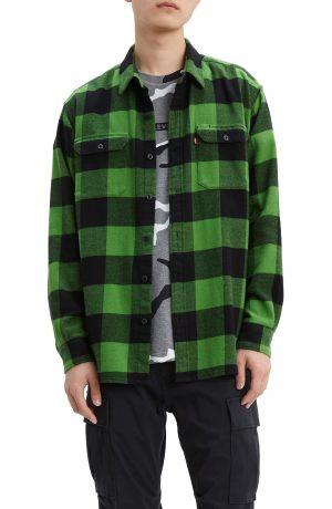 Men's Levi's Jackson Slim Fit Flannel Button-Up Work Shirt, Size Small - Black