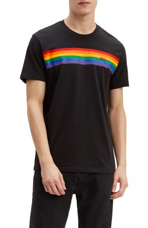 Men's Levi's Pride Pieced Rainbow T-Shirt, Size Large - Black