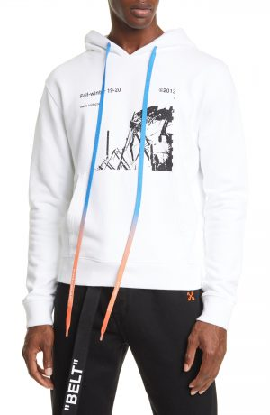 Men's Off-White Ruined Factory Slim Fit Hoodie, Size Medium - White
