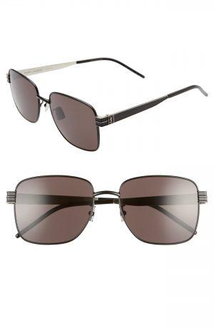 Men's Saint Laurent 57Mm Navigator Sunglasses - Black